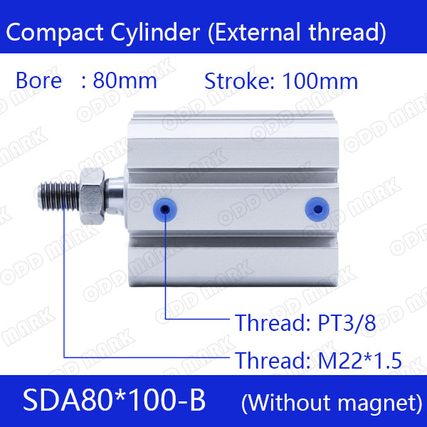 SDA80*100-B Free shipping 80mm Bore 100mm Stroke External thread Compact Air Cylinders  Dual Action Air Pneumatic Cylinder sda100 100 b free shipping 100mm bore 100mm stroke external thread compact air cylinders dual action air pneumatic cylinder