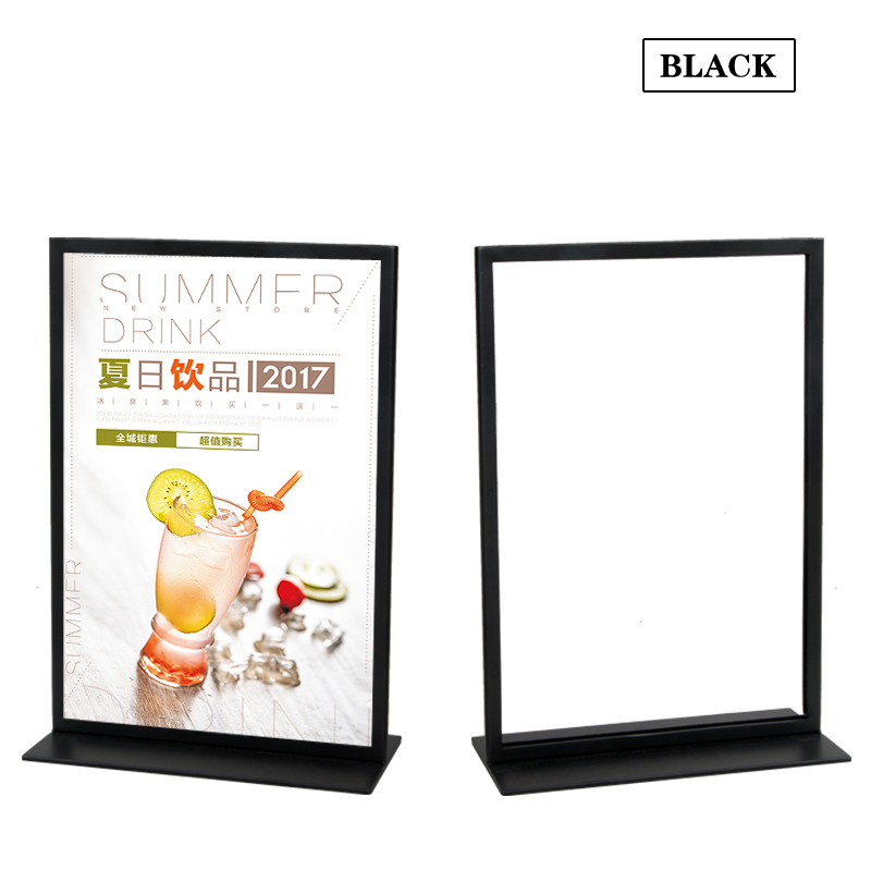 Linliangmuyu Metal A3 Double sided Desktop Display Stand For Menu/ Sign/ Clothing Product Information/ Poster Display Rack HB37