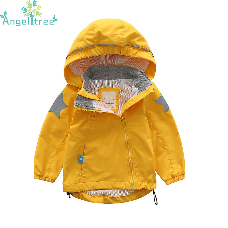 Angeltree 2018 Boys Girls Jackets Five Star Printed Outdoor Baby Coats Windbreaker Hooded Kids Clothes Children Outerwear J1072 angeltree girl jackets coats children s clothing embroidered flowers hooded windbreaker for girls clothes kids outerwear 1 8year