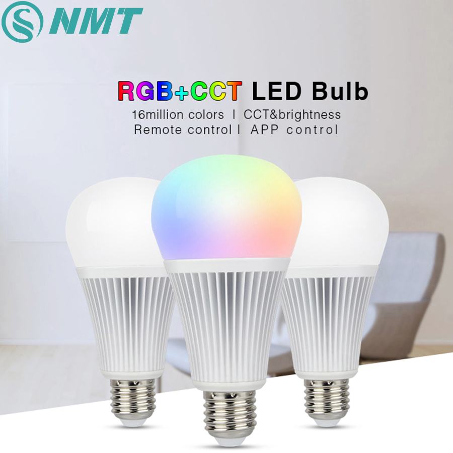 Mi Light Dimmable LED Bulb 9W E27 RGBCCT led Lamps Wireless Wifi Controller Box 2.4G RF Remote Controller mi light 2 4g mr16 4w led bulb rgbww rf professional smart led spotlight wireless wifi controller for led bulb ac dc12v