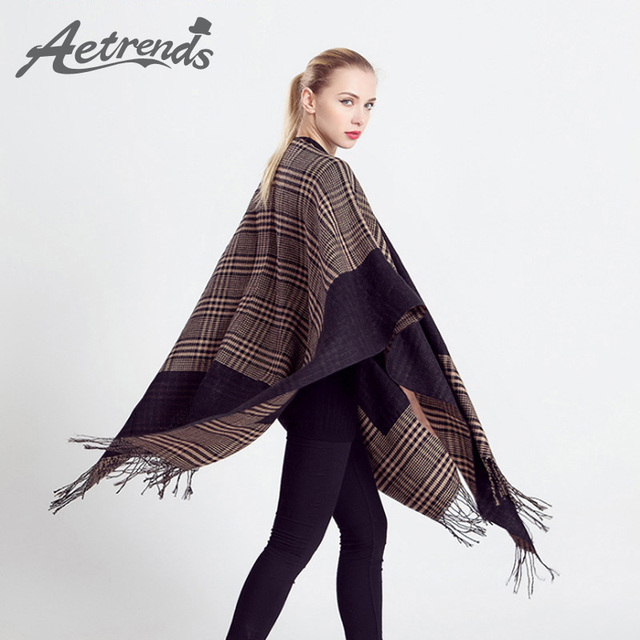 [AETRENDS] 2016 Retro Women's Capes and Ponchos Double Layers Cashmere Scarf Women Poncho Z-2301