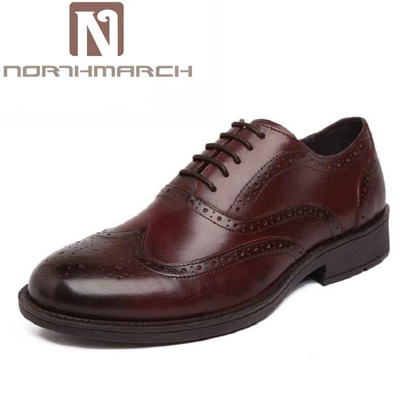 NORTHMARCH Brand Formal Dress Men Shoes Genuine Leather Brogue Business Classic Office Wedding Mens Thick Bottom Italian Shoes