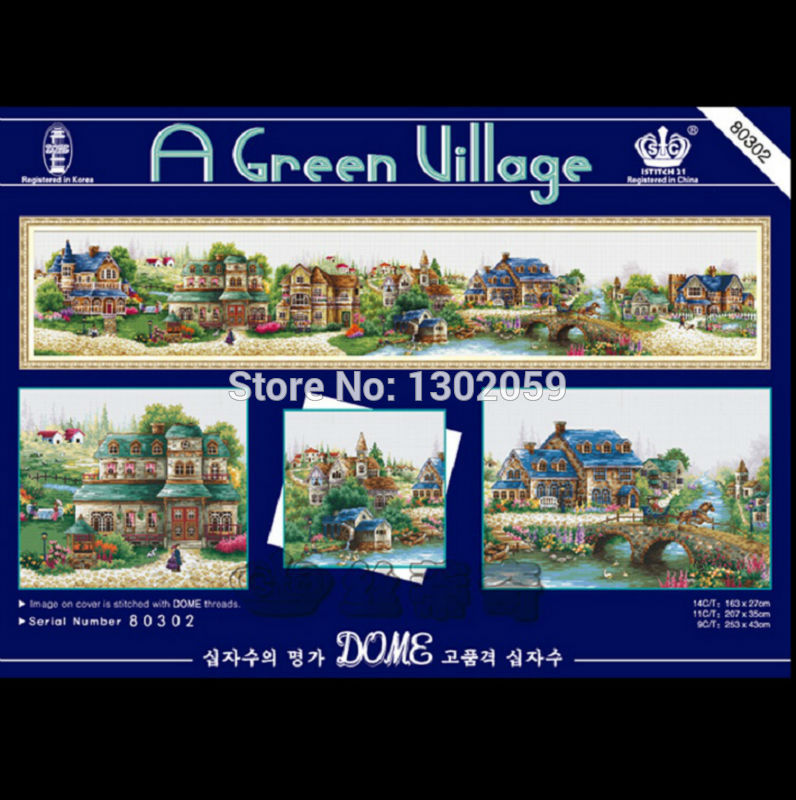 Available 14CT Cross Stitch Kit Embroidery Package European A Green Village