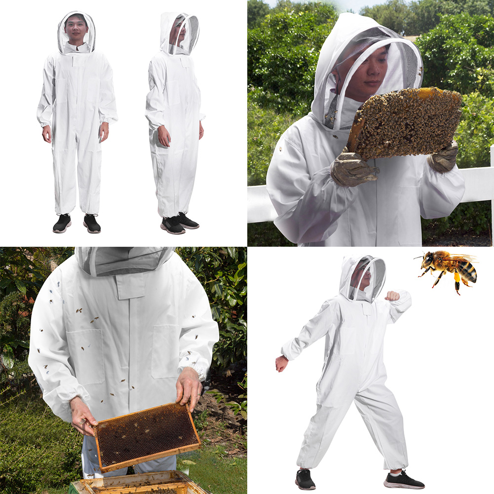 White Chemical Fiber Beekeeping Jacket Suit