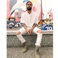 High Street Красивый Бедствия Мыть Уничтожить Тонкий Разорвал Страх бог Джинсы Homme Бренд Одежды Байкер Kanye West Мужчины Браун брюки