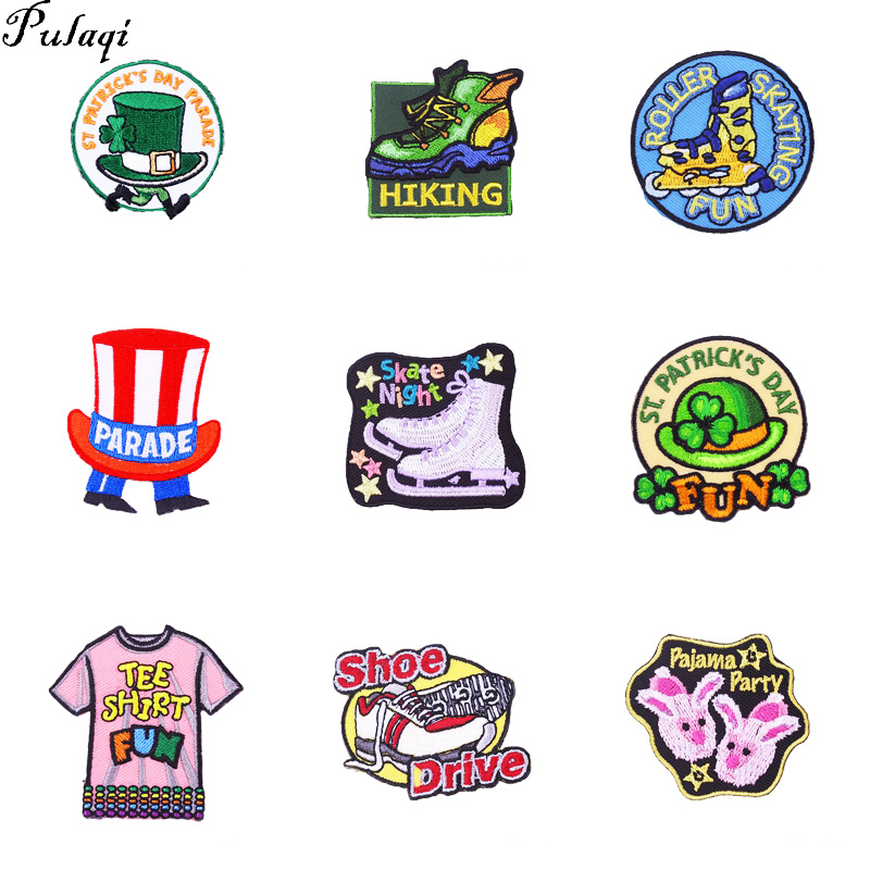 Pulaqi Fashion Custom Shoes Patch Anime Iron On Cartoon Sewing Patch DIY Kids Cheap Embroidered Cute Patches For Clothes Badge H