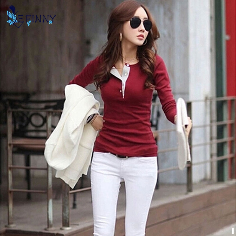 EFINNY Korean Women Long Sleeve Button Cotton Shirts Casual Slim Tops Blouse