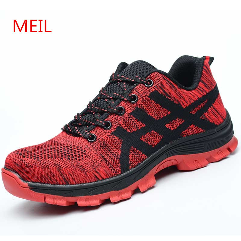 Unisex Safety Shoes with Steel Toe Cap Working Shoes Men Casual Breathable Mesh Work Safety Boots Puncture Proof Security Boots free shipping men steel toe cap work safety shoes reflective casual breathable hiking boots puncture proof protection footwear