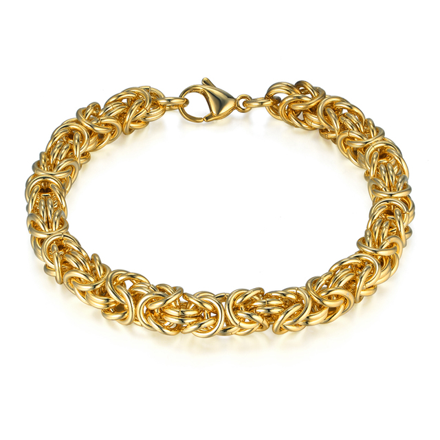 Stainless Steel Chain Link Bracelet For Men Jewelry Whole Mens Braclets 8mm Gold Color Byzantine