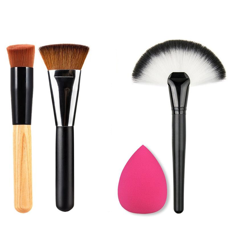 4pcs Best Makeup Brush Set Powder Foundation Travel Cosmetic Brushes Contouring Fan Makeup Brush Tools With Sponge Puff