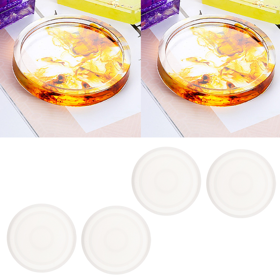 4x Mold Resin Casting Silicone Jewelry Making Mould Round Craft Coaster Tool DIY