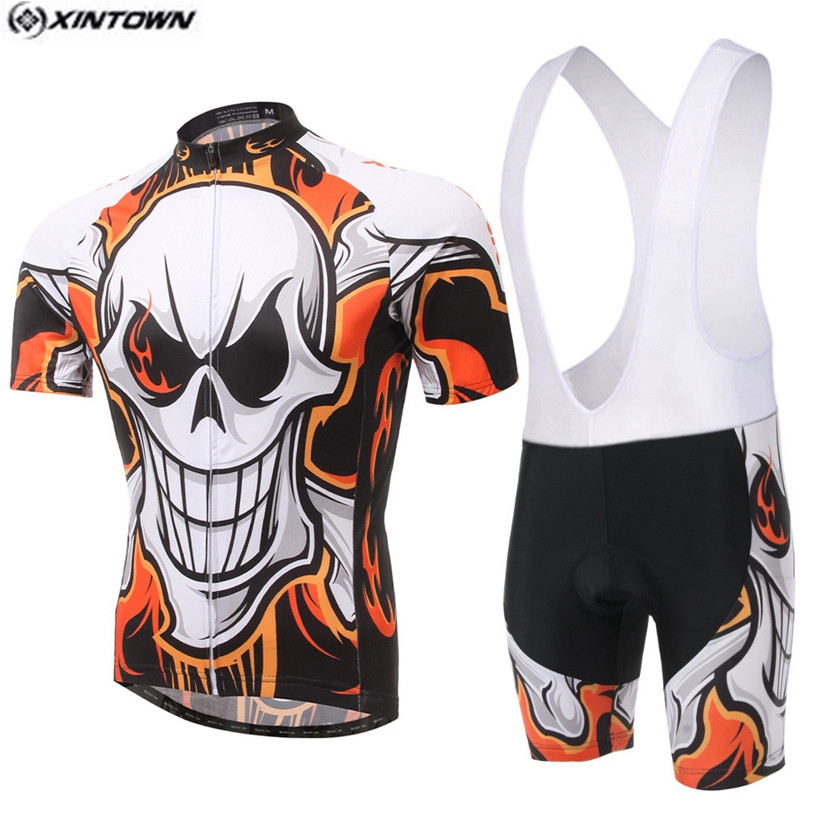 Popular XINTOWN Men Team Bike Jerseys Shorts sets Pro Cycling Jersey Skull Cycling Clothing Shirts mtb Bicycle Top 2016 new men s cycling jerseys top sleeve blue and white waves bicycle shirt white bike top breathable cycling top ilpaladin
