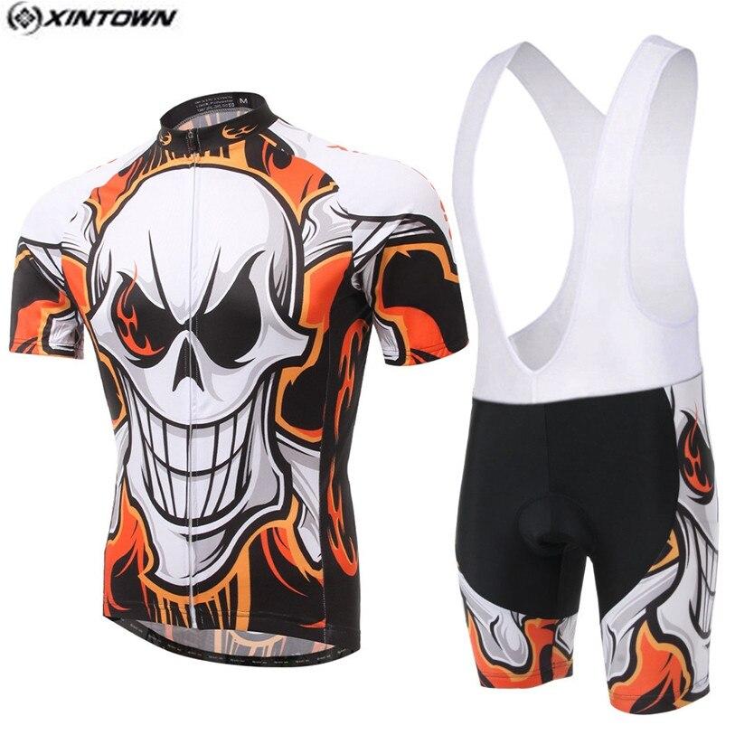 Populares de la bici del equipo de los hombres de xintown Jerséis  Pantalones cortos conjuntos pro Ciclismo Jersey cráneo Ciclismo ropa Camisas  MTB ... d758f532a4270