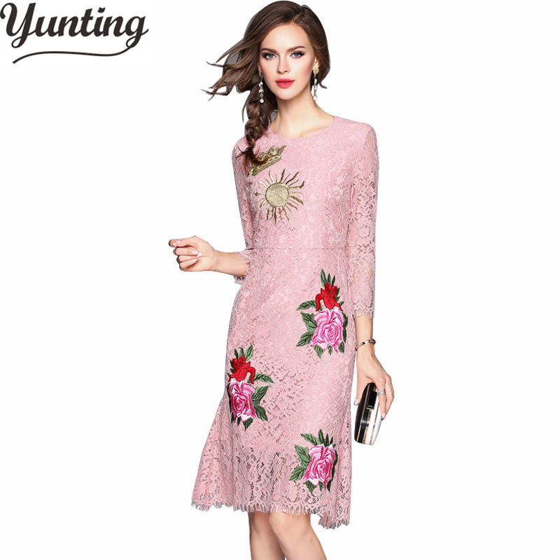 2018 Vintage Women Fashion Pink Lace Runway Party Dresses Hollow Out A Line Knee Length Dress