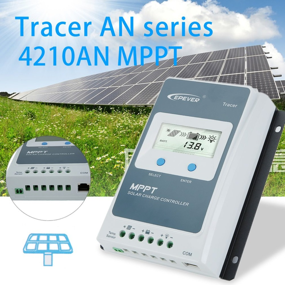 4210AN MPPT-40A LCD Display 12/24V Auto Solar Panel Solar Controller Tracer For Solar Battery Charging Solar System china hotsale me mppt2440 24v 40a mppt solar system controller price