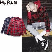 HIPFANDI2017 Punk Tartan Brand Clothing Men Clothes Korean Extended Gray red Checkered Plaid Shirt Dress New
