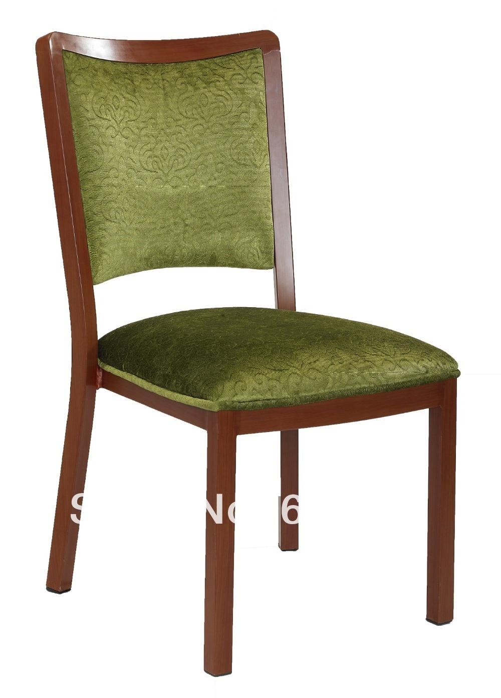 Stackable Wood Grain Aluminum Banquet Chair Heavy Duty