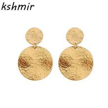 Personality female exaggerated atmospheric metal geometry round stud earrings irregular design texture