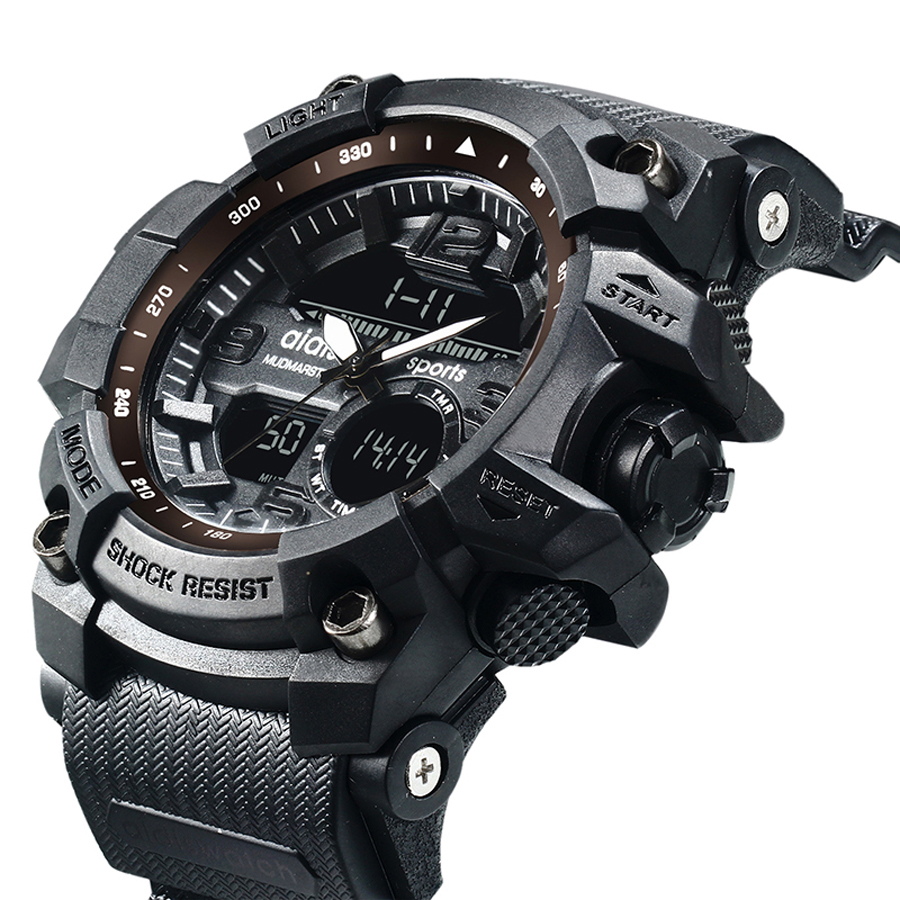 Men Military Watch Waterproof S Shock Digital LED Watches Mens Quartz Multifunction Dual Display Outdoor Sport Watch Men