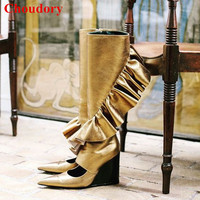 Ruffles Cutout Leather Wedge Boots Women Shoes 2018 New Fashion Runway Pointed Toe Gold/Black Knee High Botas Shoes Women
