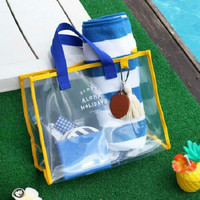 Casual Waterproof Summer Transparent Women Handbag Clear PVC Beach Travel Tote Bag Portable Clothing Storage Bag