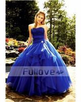 Royal Blue Strapless Evening Party Dresses Long 2019 Lace Ball Gown Wedding Party Gowns Vestido De Baile Quinceanera Abiye