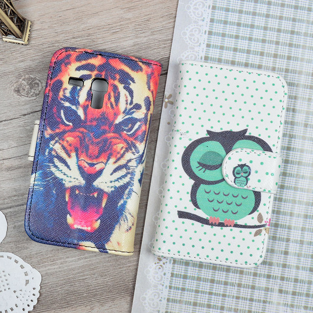 Luxury Painting Flip PU Leather Hard Case For Samsung Galaxy S3 Mini i8190 GT-I8190 flip cover i8190 8GB Grey Phone Bag