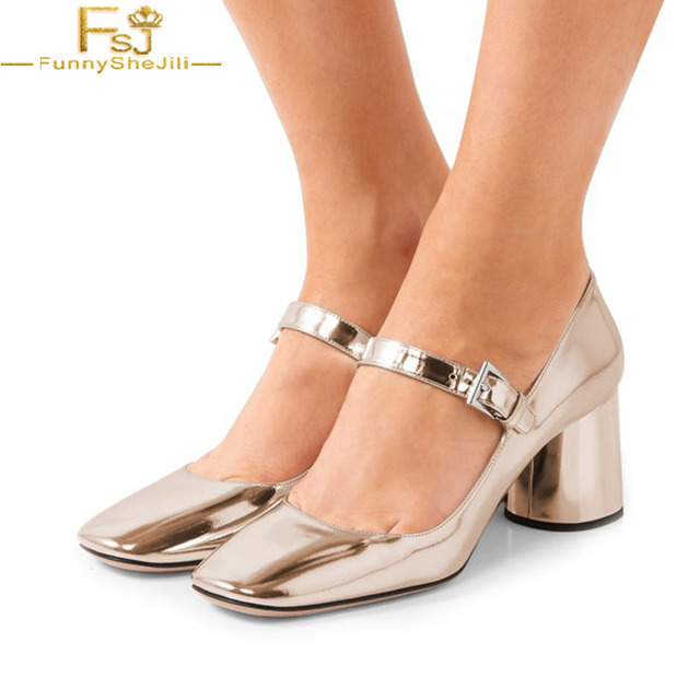 560bce6a8ea4 FSJ Mature Gold Silver Women s Leather High Thick Heels Buckle Shoes  Champagne Mary Jane Pumps Square Toe Dress Career Shoes 42