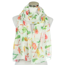 FOXMOTHER New Fashion Tropical Floral Pineapple Cactus Flamingo Print Beach Scarfs Long Wrap Pashmina For Ladies Womens Girls