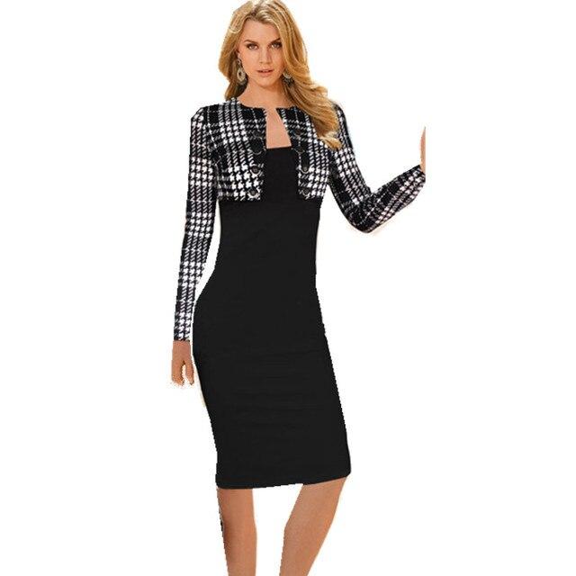 Aliexpress.com : Buy Women Work Wear False 2 Pieces Plaid ...