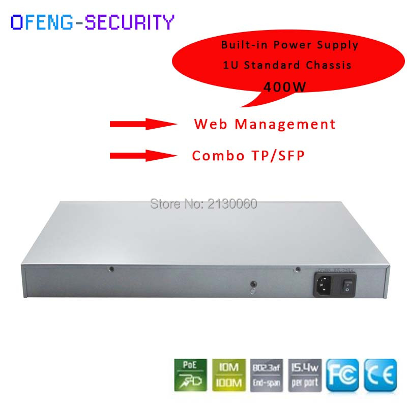 400W 28 Ports POE Switch,24 Ports 100M POE+2Port RJ45 And 2Port SFP Combo Ports Uplink, IEEE 802.3af/at, PoE Output 15.4W