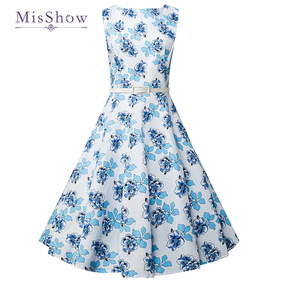 MisShow Women 2017 Summer Vintage Dress 1960s Rockabilly Floral ...