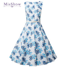 6cd8b2622d36d MisShow Women Summer Vintage Dress 1960s Rockabilly Floral Printed Swing  Rockabilly Cotton Dresses Elegant flowers dress