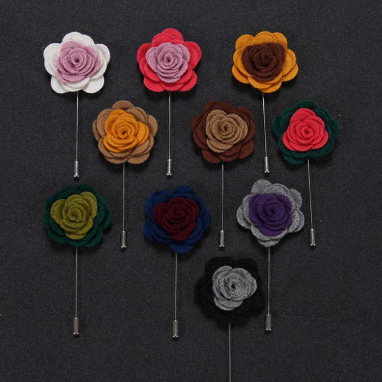Krawiec Smith Multicolor Flower męskie przypinki na klapę tkaniny moda z najwyższej półki garnitur casual Boutonniere Stick broszki Top wysokiej jakości akcesoria