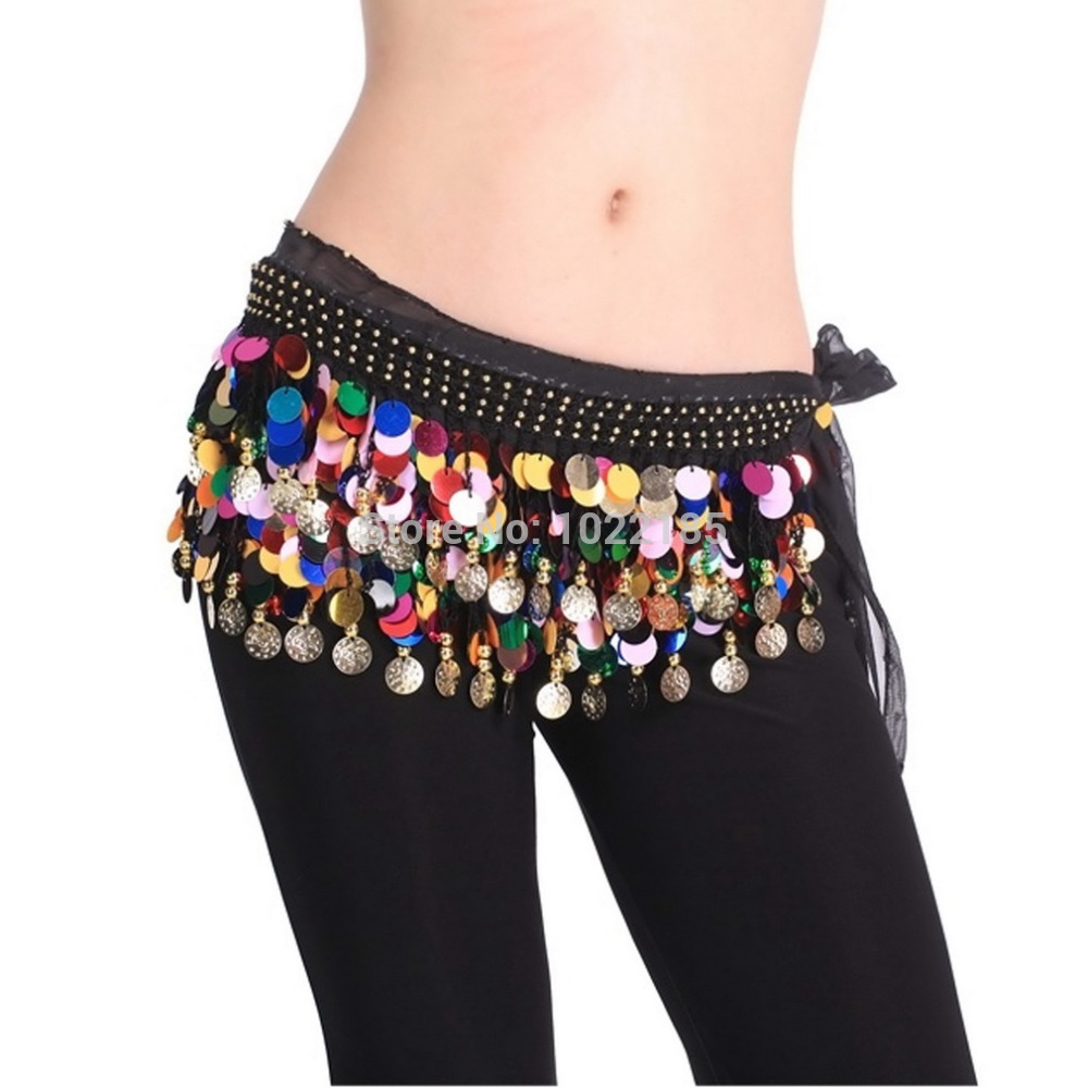 Dancing Coin Chain Sequin Belly Dance Hip Skirt Scarf Wrap Belt Waistband