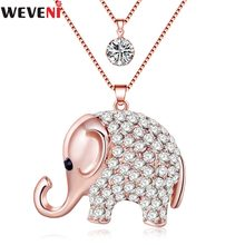 WEVENI Statement Rhinestone Elephant Necklace Pendant Long Chain Collar Jungle Animal Jewelry For Women New Fashion Accessories(China)