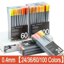 100 Colors 0.4mm Fineliner Marker Pen Water Based Assorted Ink Art Markers Drawing Graffiti Sketch Hook Fiber Supplies
