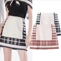 Women Skirt High Waist Side Zippers Mini Skirt Striped Plaid Print Jupe Femme Summer Elegant Bodycon Bottom Slim Runway Design