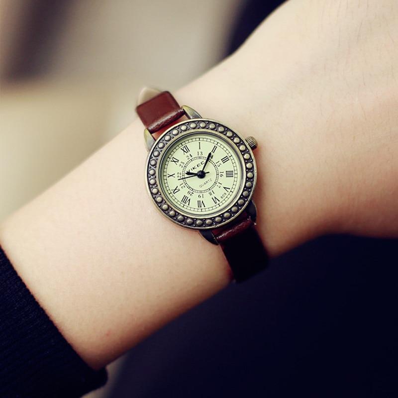 CHLFQ Marrón Negro Mujeres Relojes Retro Minimalista Vestido de Moda - Relojes para mujeres