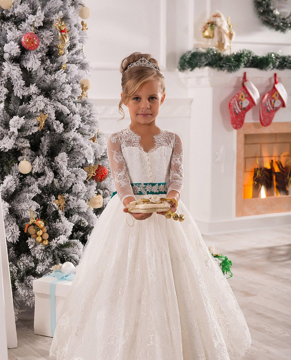 Vintage High Quality Flower Girl Dress Lace Long Sleeves Wedding Party Children Girl Gowns Princess Christmas Dresses цена 2017