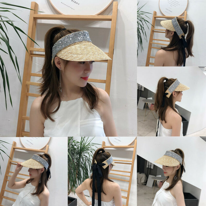 2019 Women Hat Sun Hat Casual Summer Rhinestone Empty Top Visor Beach Cap Fashion Ladies Outdoor Flat Hat Casual Match Straw Hat