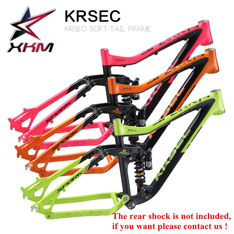 KRSEC Aluminum Alloy Moutain Bicycle Frame MTB Bike Frame 26/ 27.5 *16 Tapered Tube AM Tail Hook Colorful Rose Red