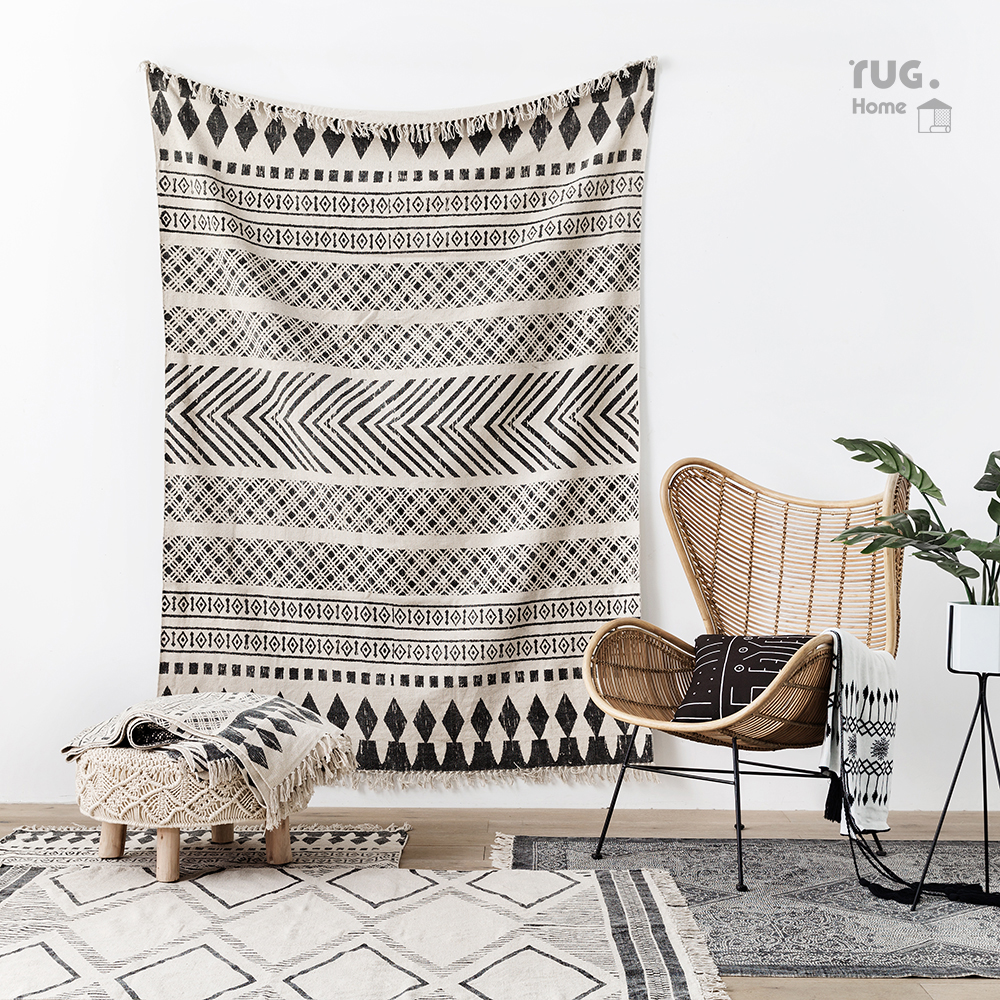 Simple style 100% cotton geometric rug for tapestry , white striped decoration bedside carpet,cotton bathroom mat,floor mat