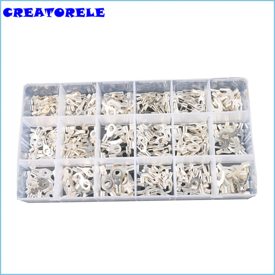 420Pcs/Box 18 type Cold naked Terminal Non-Insulated Ring Fork U-type Terminals Assortment Kit Cable Wire Comector Crimp Spade multi packed ve insulation terminal tube type assorted insulated spade crimp cold pressed terminals for car auto earth terminal