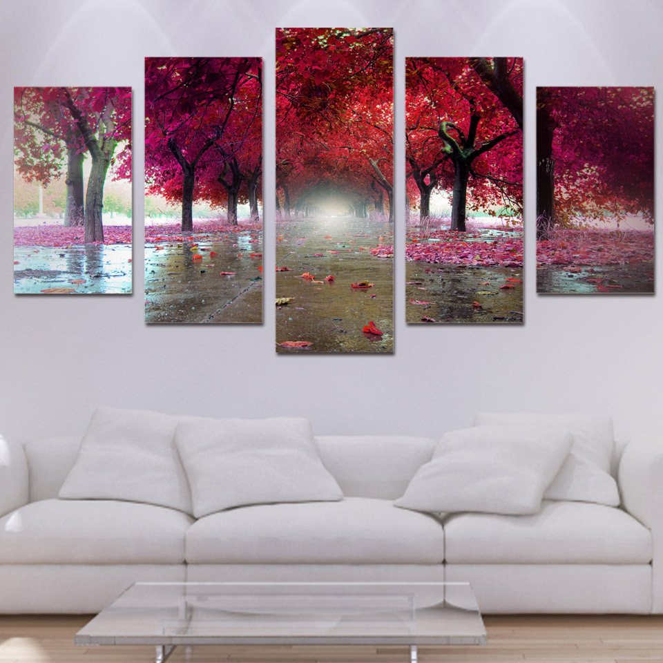 Canvas Paintings Living Room Decor 5 Pieces Red Trees Landscape ...