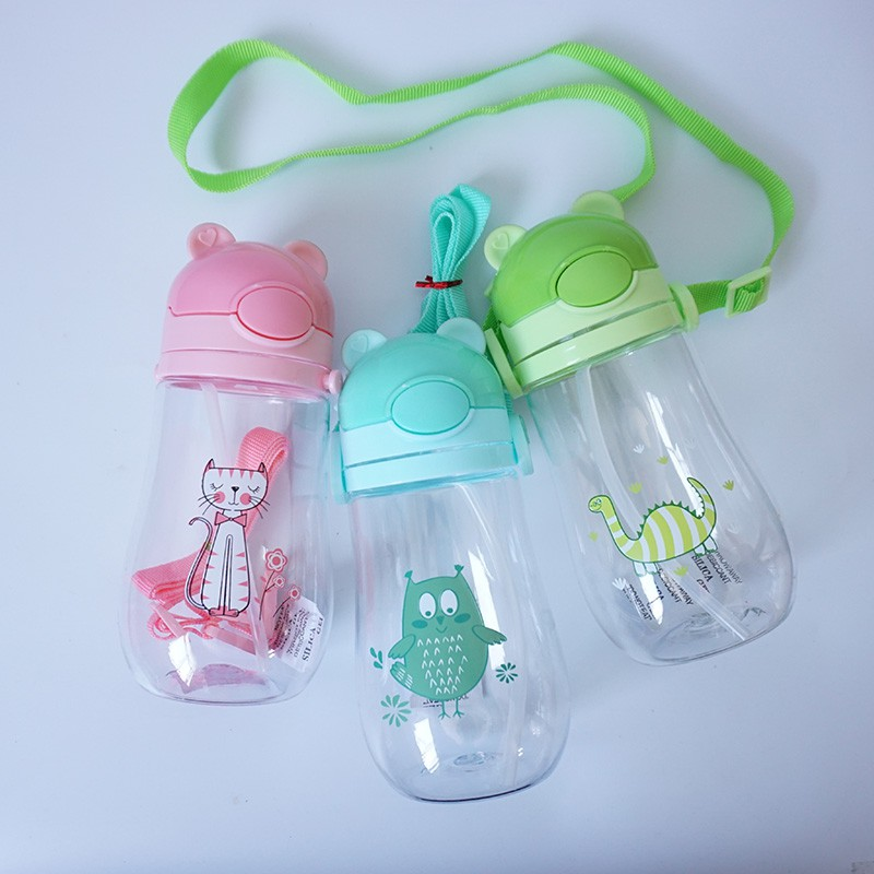 Hot 1Pc 550ml Baby Kids Children Cartoon Animal School Drinking Water Straw Bottle Sippy Cup With Shoulder Strap Feeding