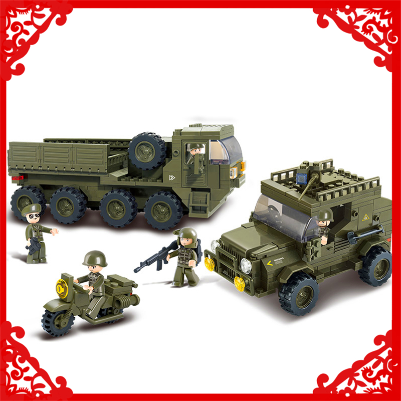 SLUBAN 0307 455Pcs Army Logistic Corps Truck Model Building Block Construction Figure Toys Gift For Children Compatible Legoe 0587 sluban army series 8 in 1 military tank truck model building blocks enlighten diy figure toys for children compatible legoe