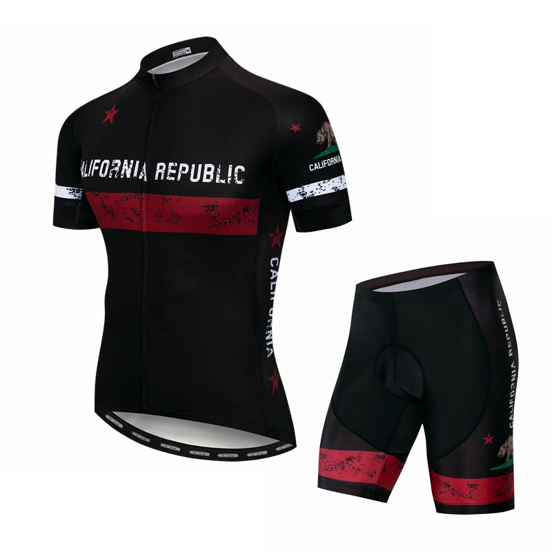 California Republic Team Cycling Clothing Men's Breathable MTB Cycling Jersey Set Ridling Bicycle Sportwear Quick Dry Bike Kit