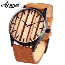 Brand calendar quartz men wood face watch designer 2017 man women leather sport watches casual wooden wristwatch free shipping