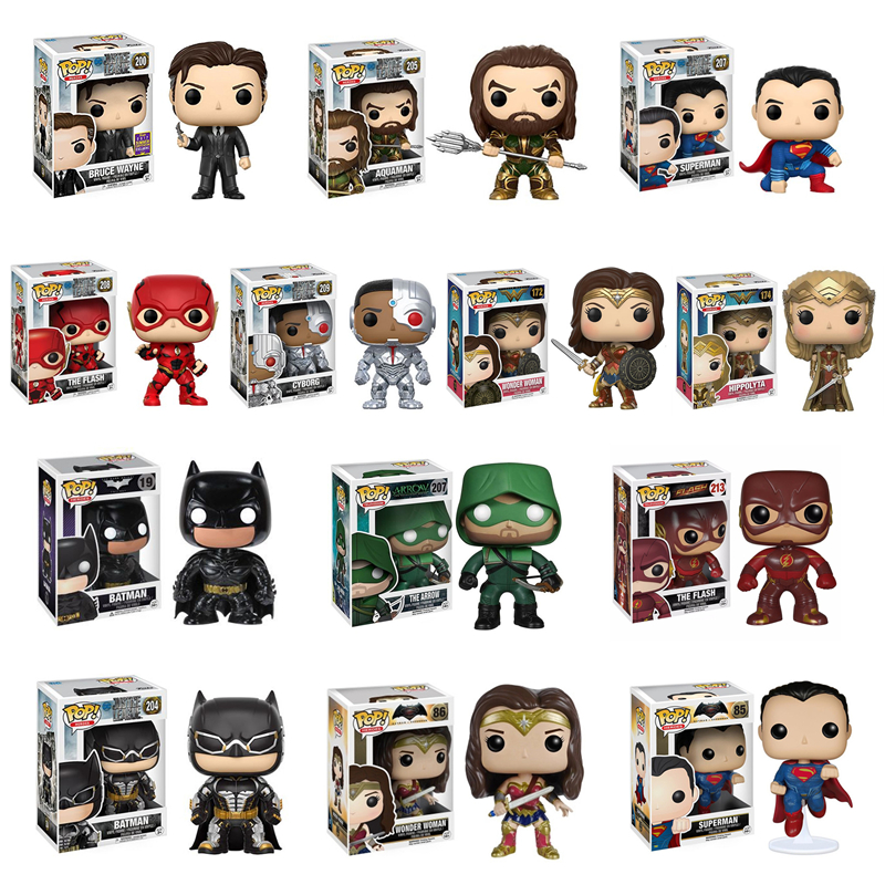 Funko POP Justice League Wonder Woman Aquaman Flash Batman Arrow Bruce Wayne Model Figure Collection Model Toy Gifts